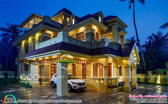 Beautiful night photograph if Colonial house in Kerala