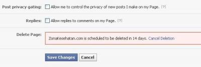 Fans Page Facebook dihapus