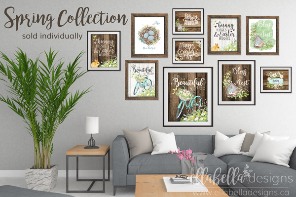 Easter & Spring Wall Art Home Decor Printables by Ellabella Designs