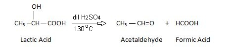 Lactic acid Reaction with H2SO4.