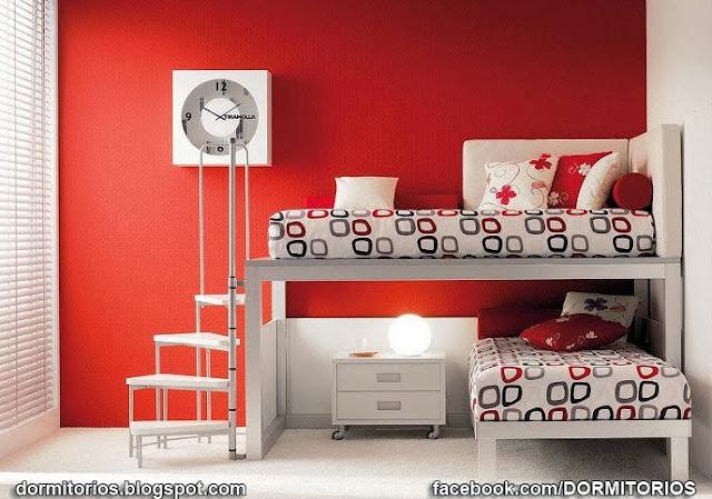 Dormitorios rojos for Dormitorio gris y rojo