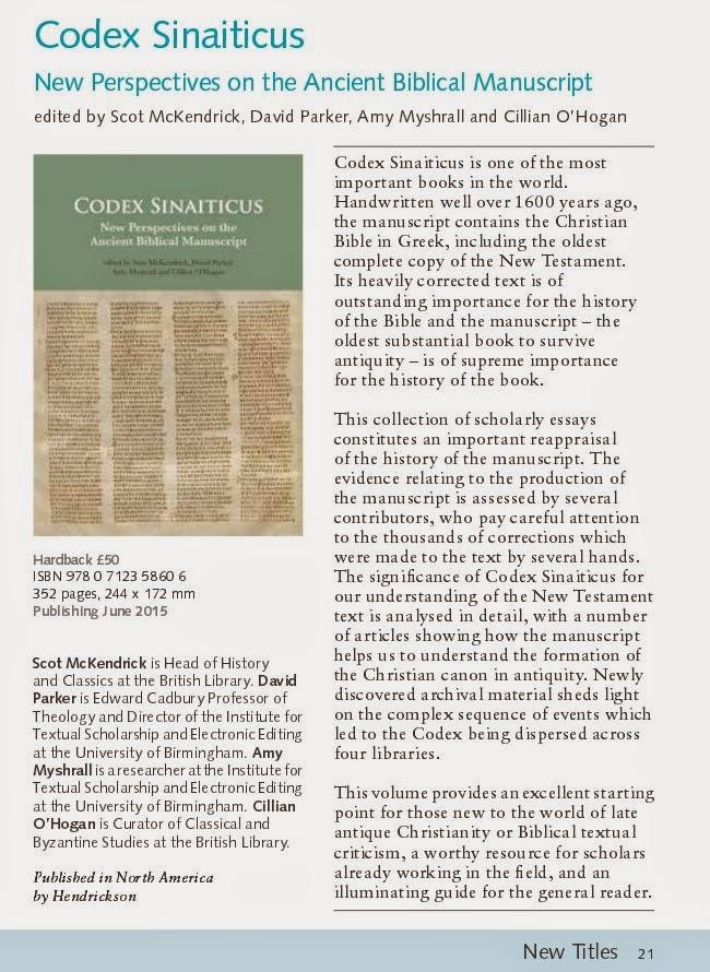 Evangelical Textual Criticism: New Book on Codex Sinaiticus