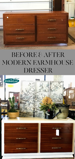 BEFORE AND AFTER MODERN FARMHOUSE DRESSER USING GENERAL FINISHES MILK PAINT NEW COLOR ALABASTER DIY MAKEOVER