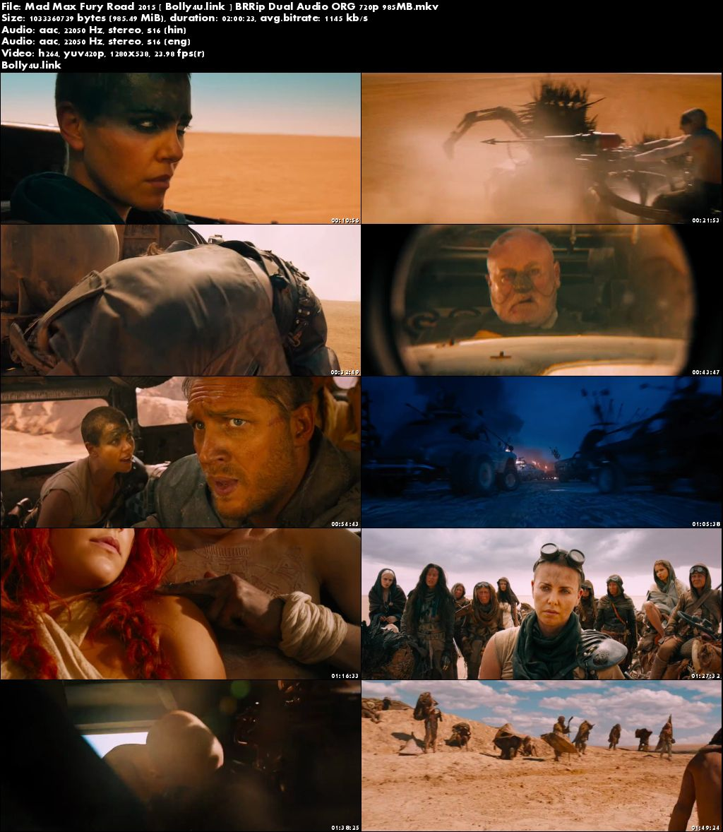 Mad Max Fury Road 2015 BRRip 950Mb Hindi Dual Audio ORG 720p Download