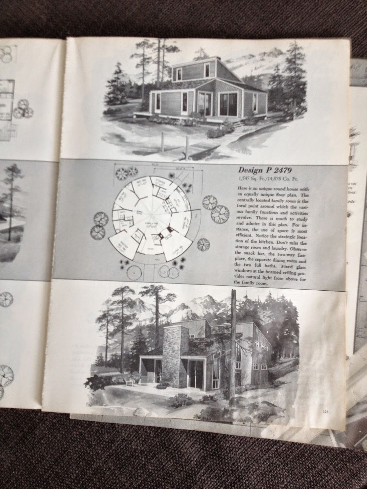 mid-century vacation home plan book black and white