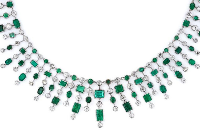 Detail: An Art Deco emerald and diamond fringe necklace.