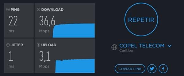 Resultados apos medir a velocidade de internet