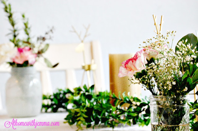 decorating-white mason jars-garland-carnations-vignette-styling a party