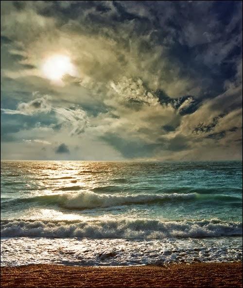 puesta de sol en la playa