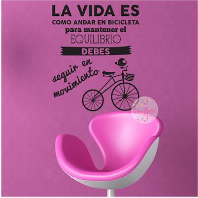 vinilo decorativo frase La Vida Es Como Andar en Bicicleta