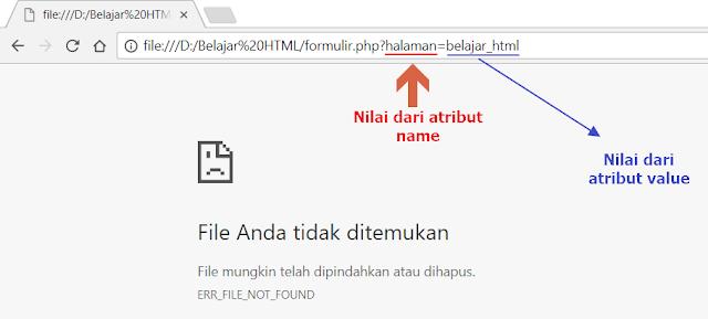 Alamat web browser untuk tag input type hidden