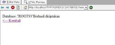 database berhasil dibuat