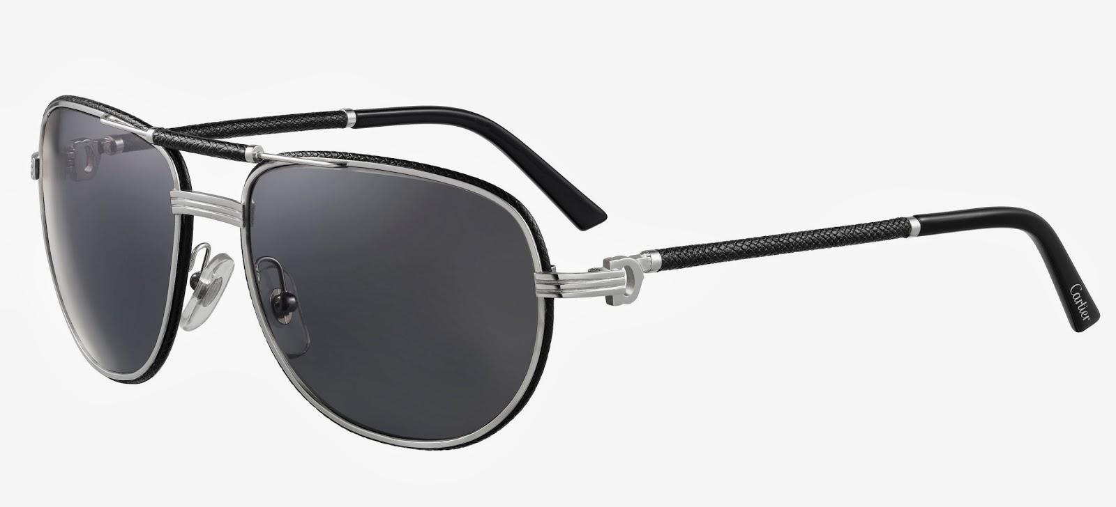 cebf50b6e3 The additional contemporary aviator sunglasses in metal and black leather  jpg 1600x728 Cartier sunglasses 2013