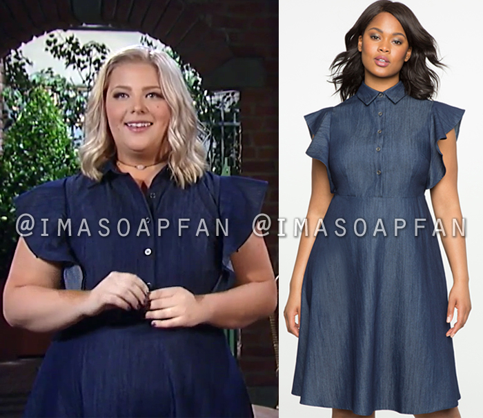 Amy Driscoll, Risa Dorken, Blue Denim Dress with Flutter Sleeves, General Hospital, GH