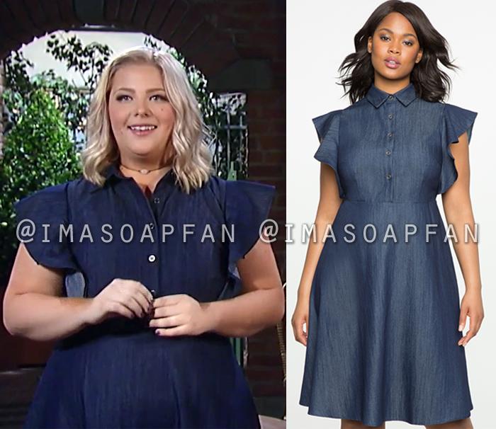 Amy Driscoll, Risa Dorken, Blue Denim Dress with Flutter Sleeves, General Hospital, GH