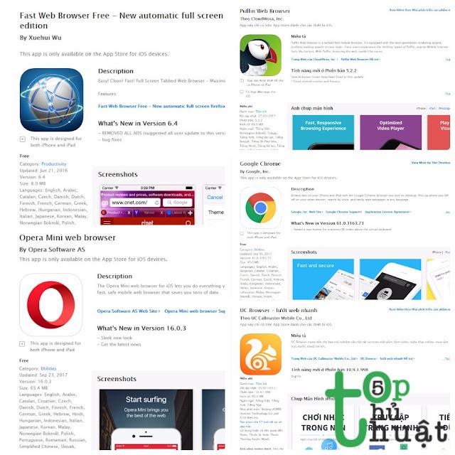 Top 5 ứng dụng trình duyệt web tốt nhất trên iOS