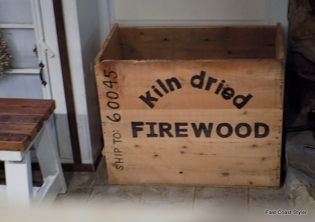 wooden firewood storage crate