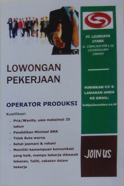 Lowongan Kerja PT. Leuwijaya Utama (Leuwitex Cimahi)
