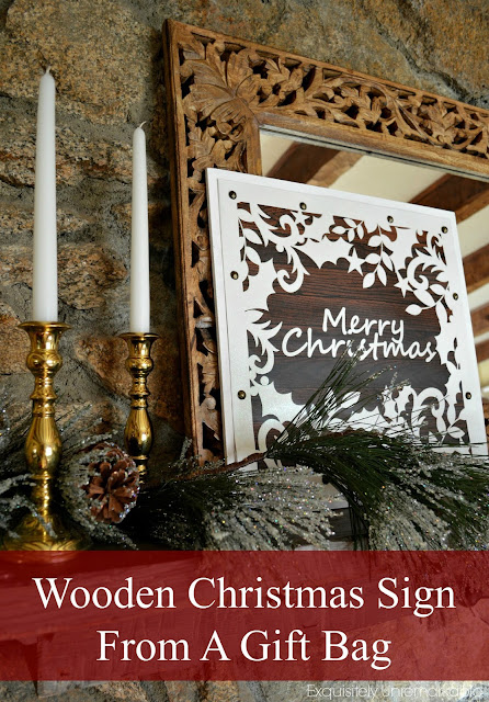 Easy Wooden Christmas Sign From A Gift Bag