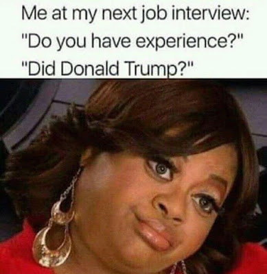 Me at my next job interview: Do you have experience? Did Donald Trump?
