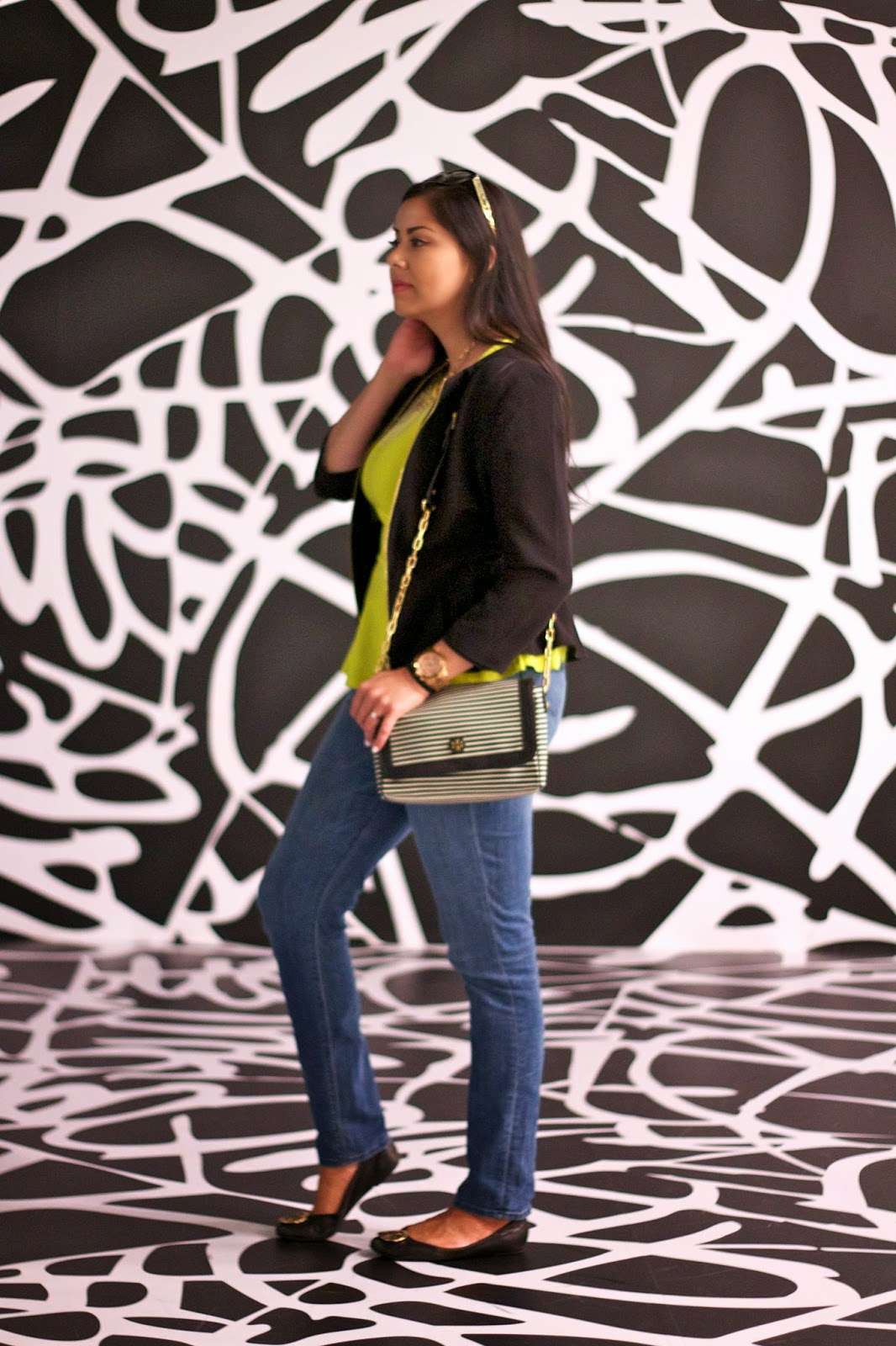 yellow neon peplum striped purse