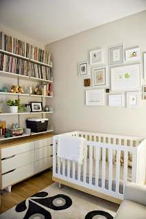 habitación bebé gris blanco
