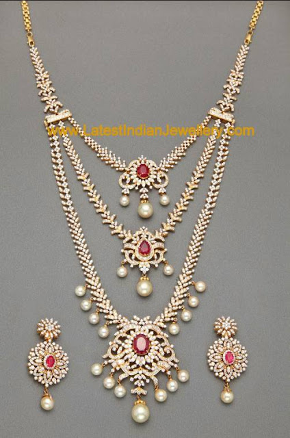 Designer Bridal Triple Layer Detachable Diamond Necklace