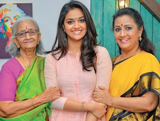 Keerthy Suresh in Pink Dress with Cute and Awesome Lovely Smile with her Mother and Grand Mother