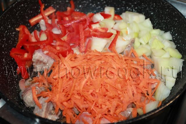 рецепт тушеной капусты с мясом и овощами с пошаговыми фото