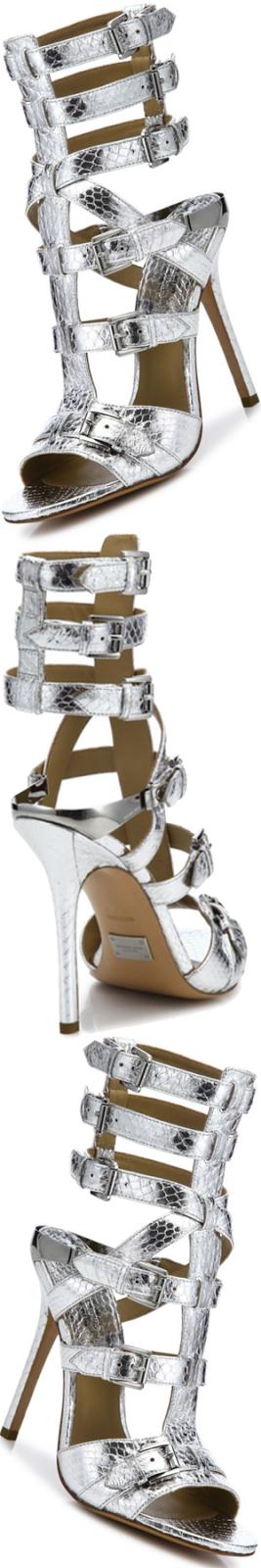 Michael Kors Ming Metallic Snakeskin Gladiator Sandals