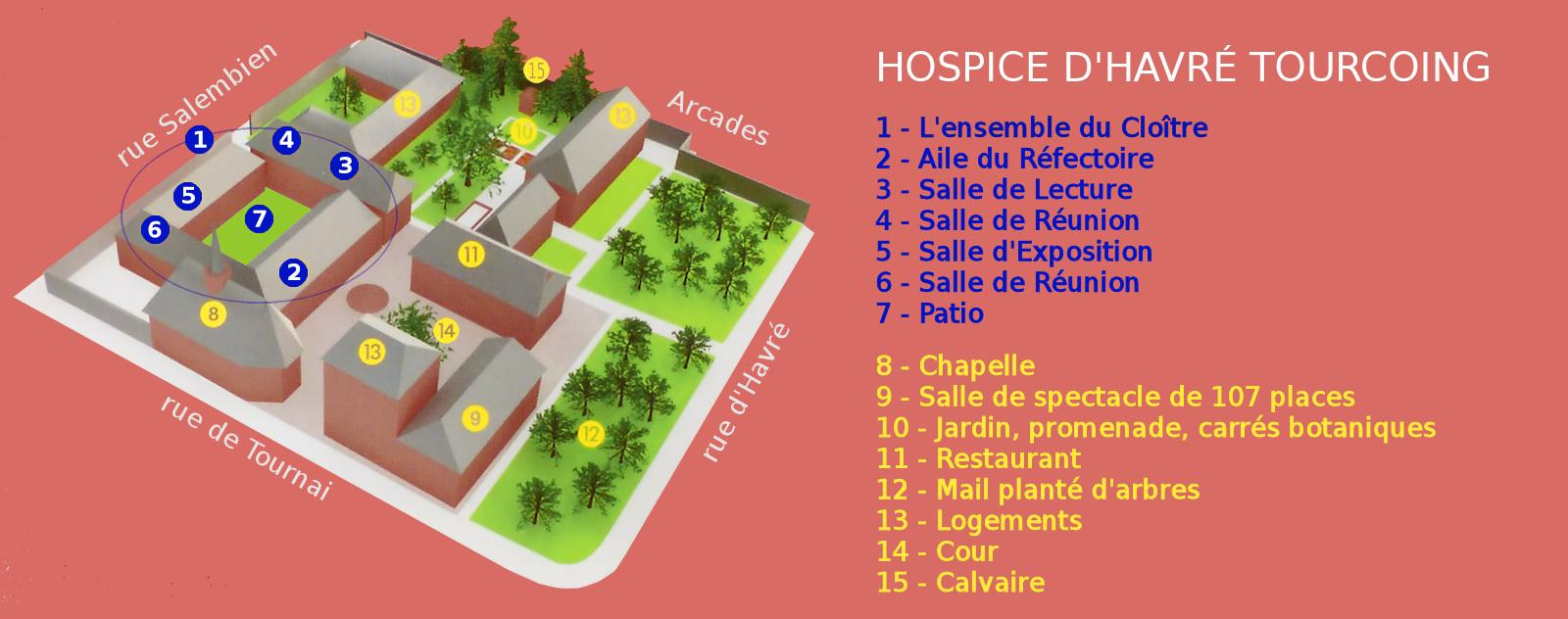 Plan de l'ensemble des bâtiments de l'hospice d'Havré