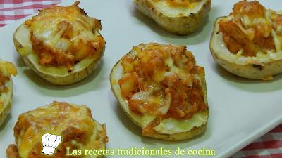 Cómo hacer patatas al horno rellenas de atún y tomate