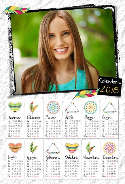 Calendario neutro con spazio per 1 fotografia orizzontale