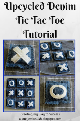 Upcycled Denim Tic Tac Toe Game