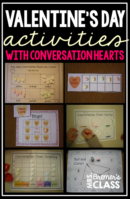 Lots of fun ways to practice math skills during Valentine's Day! Students use conversation hearts to sort, tally, graph, add, compare numbers, count, and more! Packed with fun, hands on activities to build math skills in Kindergarten and First Grade. Common Core aligned. #kindergarten #kindergartenmath #1stgrade #valentinesday #centers #mathcenters #math #conversationhearts
