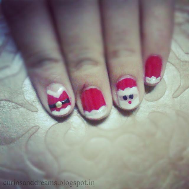Snowy Santa Nail Art, Christmas nail art
