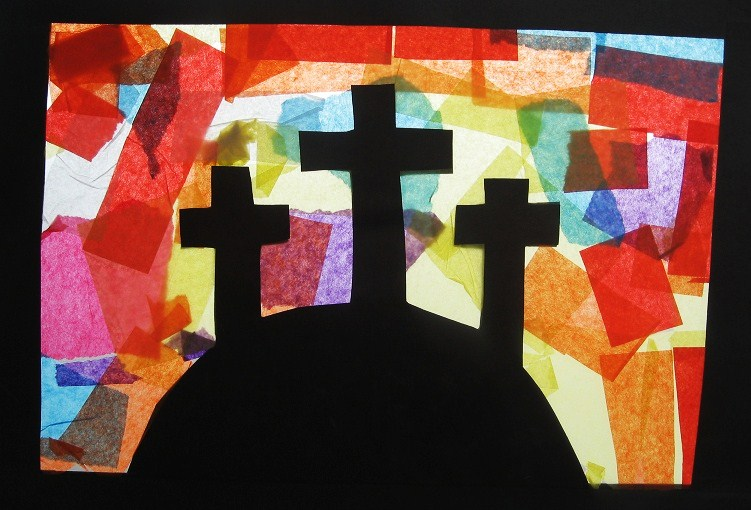 Almost unschoolers easter suncatcher craft golgotha for Easter crafts for elementary students