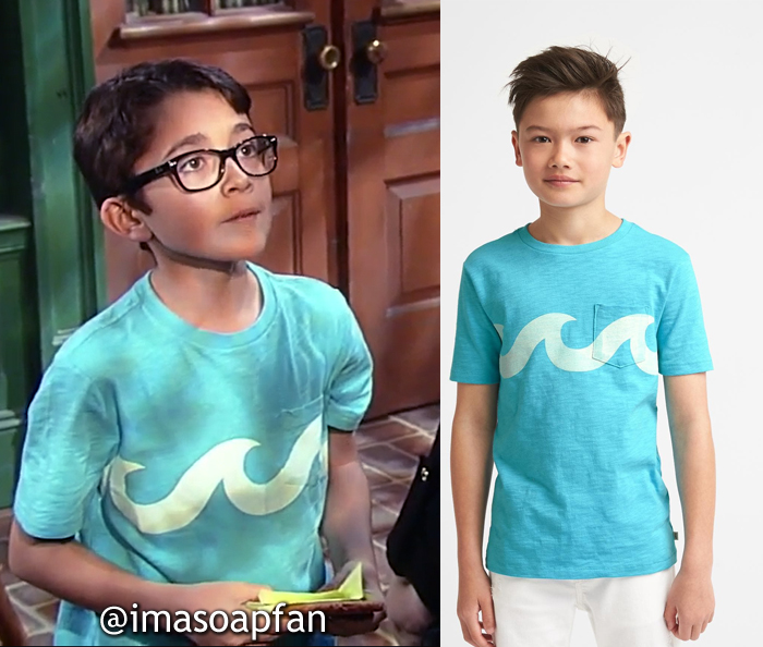 Spencer Cassadine, Nicolas Bechtel, Blue Wave Graphic Tee, General Hospital, GH