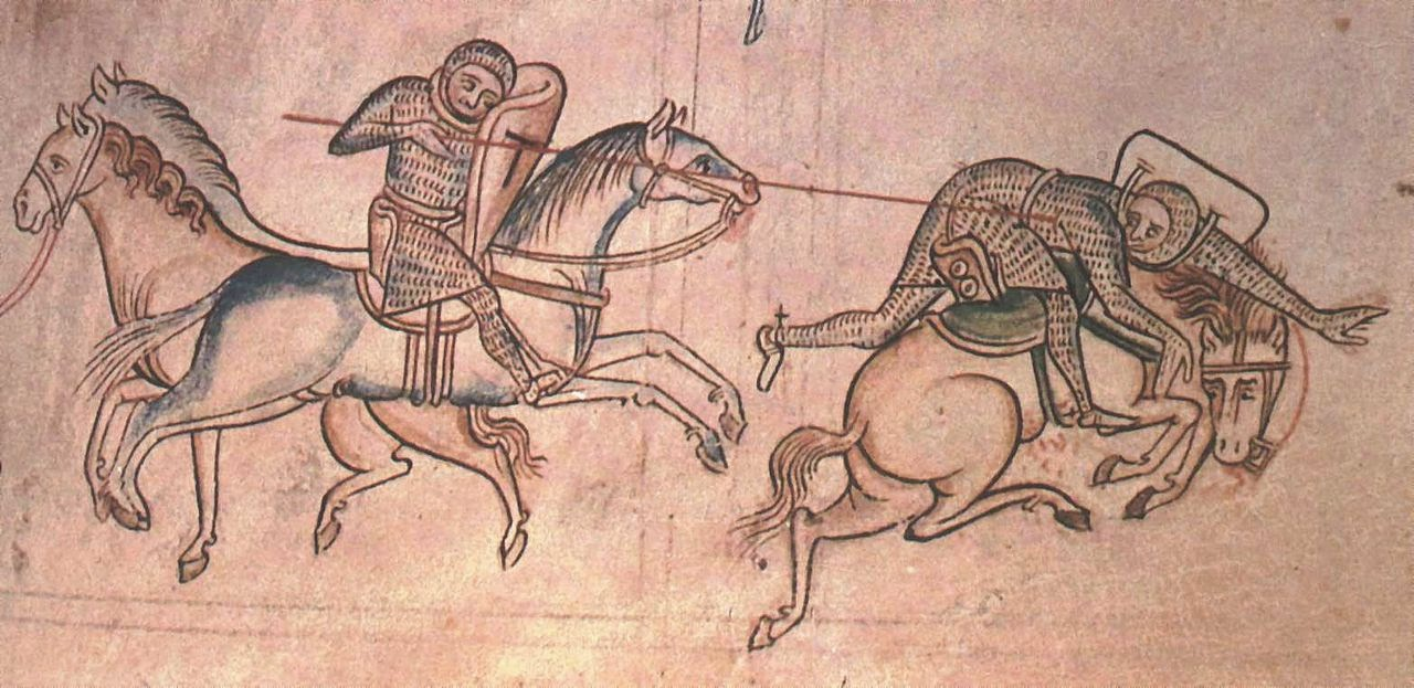 """Matthew Paris - William Marshal"" by Matthew Paris - Originally from en.wikipedia; description page is (was) here03:45, 26 March 2005 Dsmdgold 1565x762 (117701 bytes) ([[:en:William Marshall]] at a joust unhorses <a href=""/w/index.php?title=Baldwin_Guisnes&action=edit"" class=""new"" title=""Baldwin Guisnes"">Baldwin Guisnes]] in 1233. From the ''Historia Major'' of [[:en:Matthew Paris]], Cambridge, Corpus Christi College Library, vol 2, p. 85. Scanned from ''Four Gothic Kings'', Elizabeth Hallam, ed. {{PD-art}}). Licensed under Public domain via Wikimedia Commons - http://commons.wikimedia.org/wiki/File:Matthew_Paris_-_William_Marshal.jpg#mediaviewer/File:Matthew_Paris_-_William_Marshal.jpg"