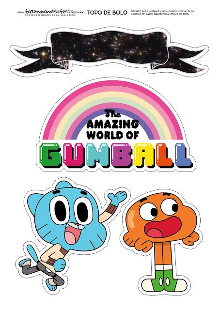 El Asombroso Mundo de Gumball: Toppers para Tartas, Tortas, Pasteles, Bizcochos o Cakes para Imprimir Gratis.