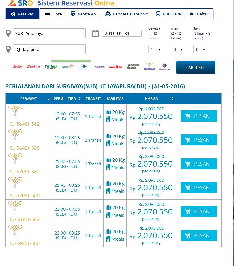 Tiket Pesawat Promo Termurah Surabaya Jayapura Papua Mmbc Jatim