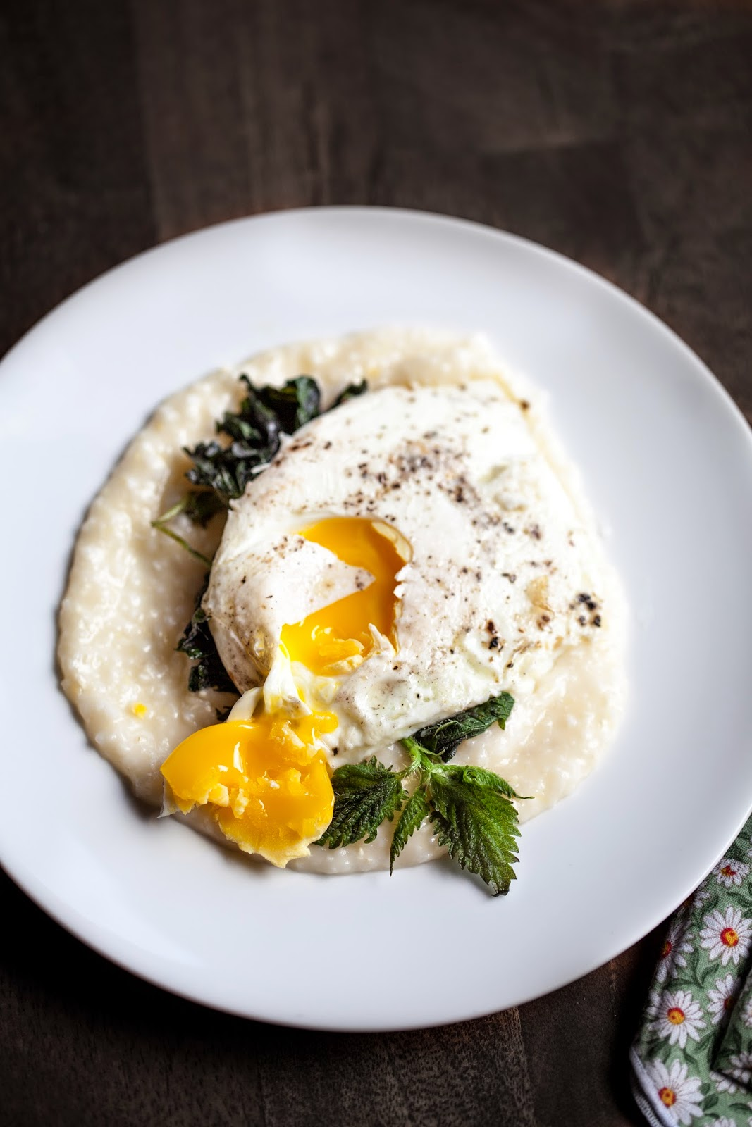 Stinging Nettle with an Egg and Creamy, Cheesy Grits