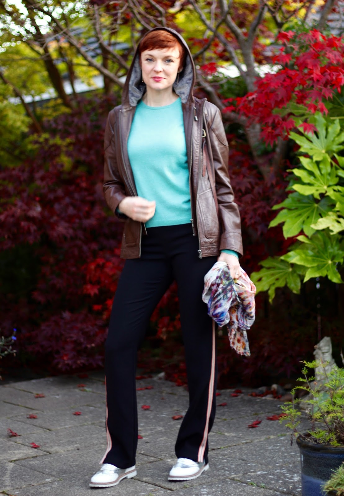 Leather Jacket, Crew neck Jumper, Side Stripe Trousers | Joggers & Shoes | Fake Fabulous