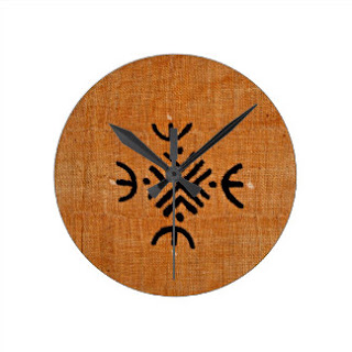 Mud cloth print wall clock