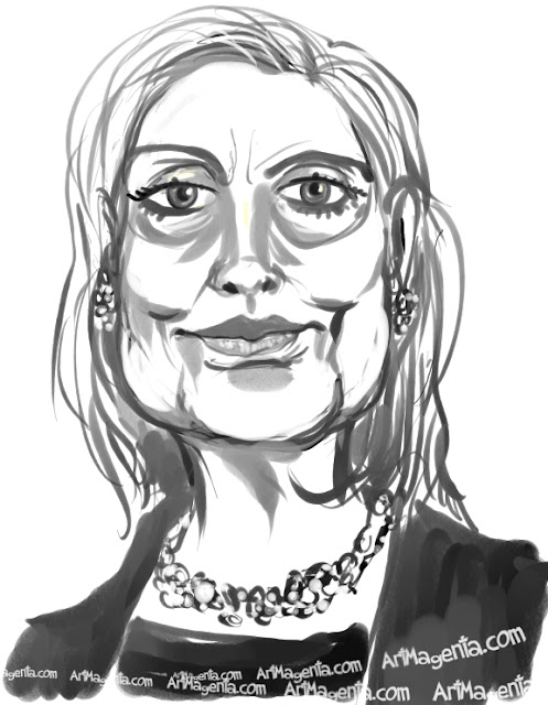 Hillary Clinton caricature cartoon. Portrait drawing by caricaturist Artmagenta.