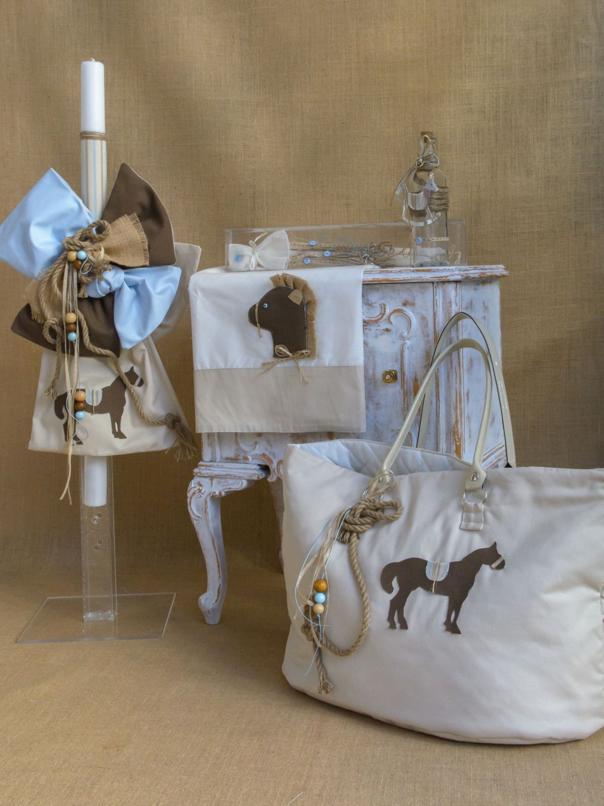 Horse themed Greek Christening lampada set for boy CSB38