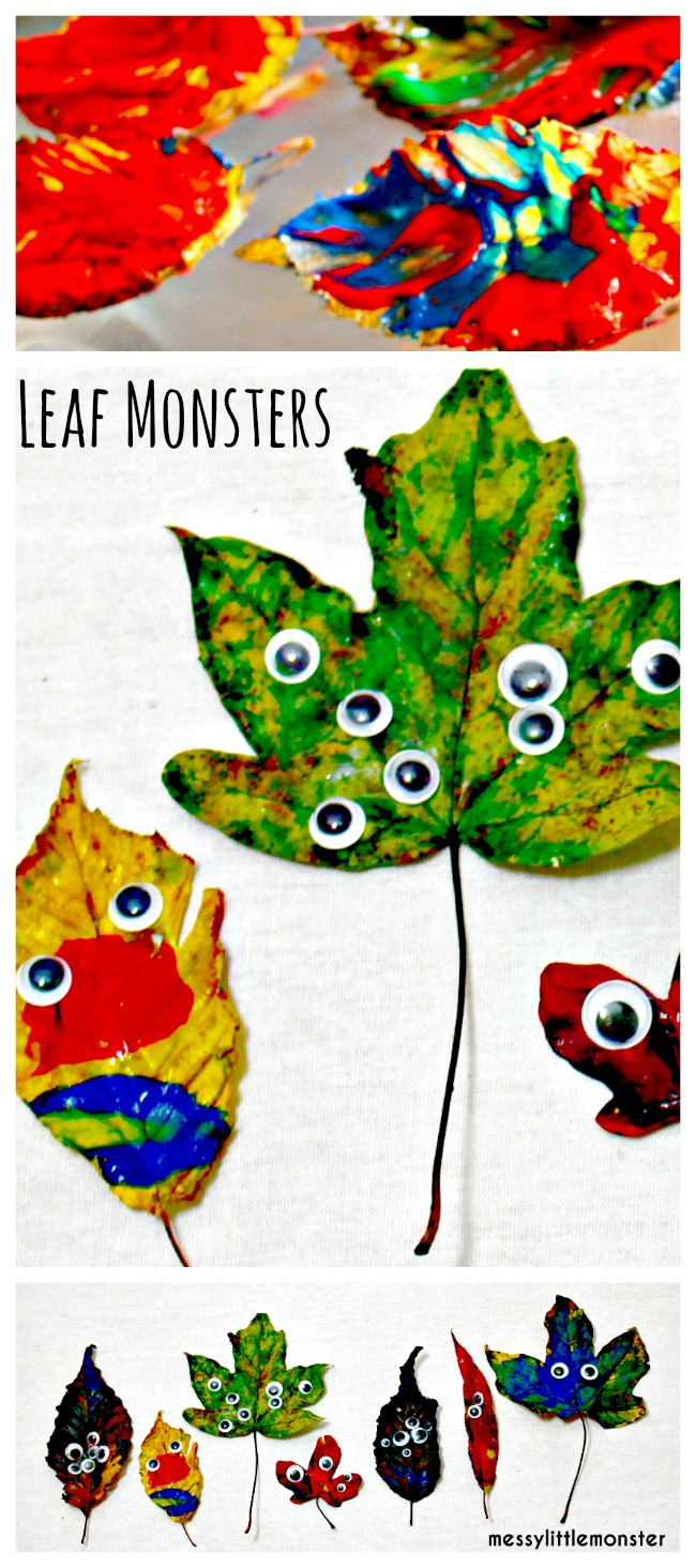 Leaf monsters- A simple Autumn leaf craft idea for kids.  Finger painting process art which is perfect for toddlers and preschoolers.