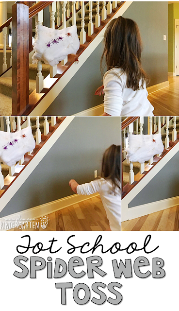 Learning is more fun when it involves movement! Practice your aim and throwing skills with this spider web toss gross motor activity. Great for tot school, preschool, or even kindergarten!