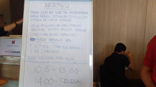 Baru 41 Keluarga Korban Lion Air yang Klaim Uang Tunggu