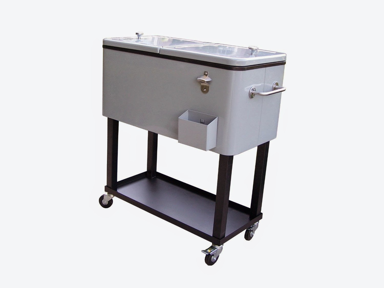 80 Quart Metallic Grey Patio Coolers On Wheels